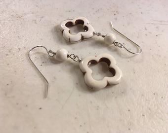 White Turquoise Earrings - Sterling Silver Jewelry - Gemstone Jewellery - Southwestern - Everyday - Quatrefoil