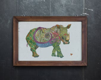 Rhinoceros Print Giclee Print Rhino Print Rhinoceros Art Home Decor Rhino Art Wall Decor Wall Art Animal Print Nursery Decor Nursery Print