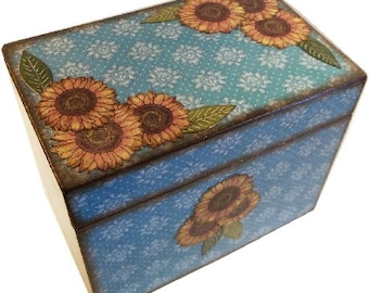 Recipe Box, Decoupaged, Holds 4x6 Cards, Handcrafted Recipe Bx - Teal Blue Sunflower, Bridal Shower Box,Storage Organization MADE TO ORDER