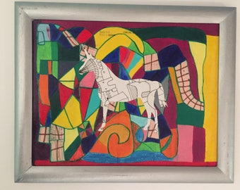 Rainbow Maze Unicorn --Original Painting