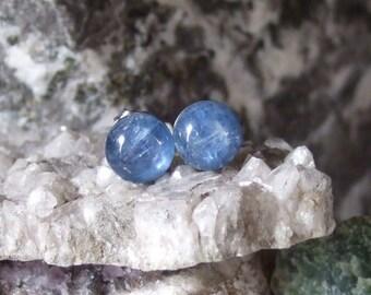 8mm Blau Kyanit Titan Ohrstecker Ohrringe Ohrringe Hypo Allergen aus Neufundland-Hals-Chakra
