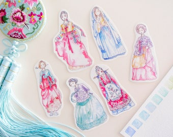 Korean Hanbok Sticker Sheet - Watercolor Illustrations, Girls in Hanbok Dress Stickers, Korean historical drama, K-Drama, Journal Stickers