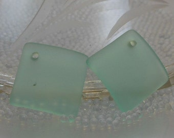 Sea Glass Square Pendants pair Seafoam Green 18mm matte frosted cultured drilled SGP-18mm-SG