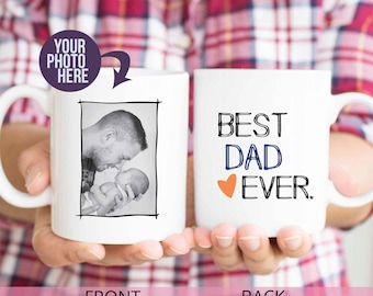 "Fathers day gift from baby, ""best dad ever"", dad birthday, best daddy mugs, gifts for dad, daddy and son, custom dad photo mugs, MU92"
