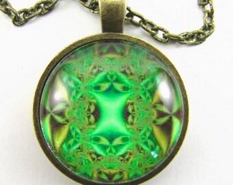 LIME KALEIDOSCOPE Necklace -- Arabic Mandala, Spiritual art, Gift for him or her