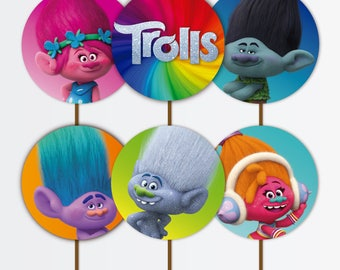 INSTANT DOWNLOAD Trolls Cupcakes Toppers -  Trolls Party - 2in  Cupcakes Toppers - Trolls Toppers - Party Printables - Trolls Decoration