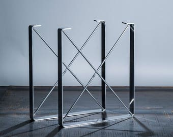 "CHROME Powder Coat Finish -  Metal Dining Table Legs, ""U"" Shaped Industrial Steel Table Legs with ""X"" Steel Rod Cross Pieces"