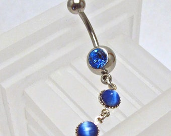 Blue Cat's Eye Dangles Belly Ring ~ Summer Style Navel Ring ~ Belly Button Ring ~ Piercing Body Jewelry: Surgical Steel - Hypo Allergenic