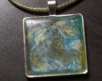 Resin Filled Square Pendant