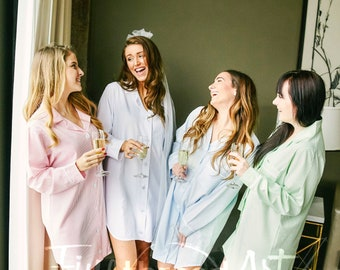 PREORDER Seersucker Ladies Night Gown Button Down Lounge Shirt Pajamas with Monogram Gift for Bride Mom Bridesmaids