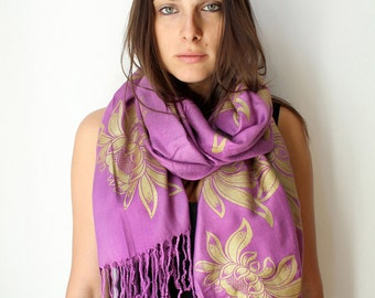 Silk Blend Hand Printed Lotus Flower Scarf Orchid/Gold