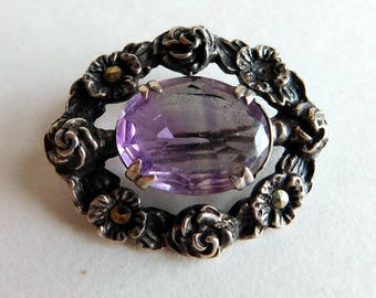 Vintage Antique Victorian Sterling Silver Amethyst Floral Brooch / Pendant - Many-Faceted Stone, Open Back Pronged Setting - Marcasites
