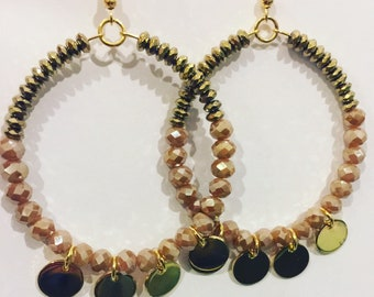 Pink champagne and gold earrings