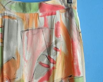 VIntage 90s abstract print skirt, multicolor short pencil skirt, knee length skirt, high waist skirt, 90s hipster skirt, Made in Germany, S