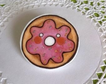 Donut Brooch Donut Pin Doughnut Pin Donut Brooch  Donut jewelry pink donut pink sprinkle donut- Unique Boutonnière Donut Jewellery