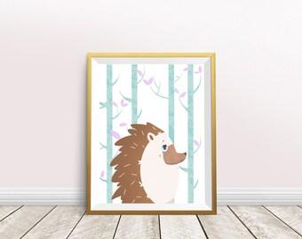 Hedgehog Art Print, Nursery Printable Art, Woodland Animal, Wall Decor, Instant Download, Digital File