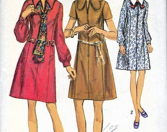 """Vintage 1970 Simplicity 8936 Retro Dress With Collar & Sleeve Interest In Half-Sizes Sewing Pattern Size 16 1/2 Bust 39"""" UNCUT"""