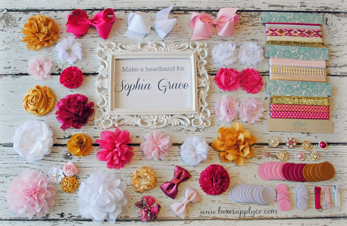 Hot Pink Light Pink White And Gold Baby Shower Diy Headband