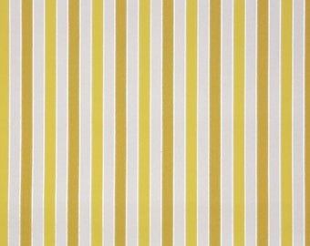 1950's Vintage Wallpaper - Yellow and White Stripe with Silver Metallic Accent