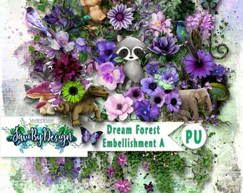 Digital Scrapbooking Kit, DREAM FOREST Scenic, fantasy, flowers, animals and greenery, includes some unique elements,