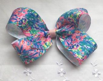 Lilly Pulitzer Inspired Hair Bow 5 inch