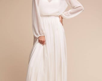 Bridal separates  BRENDA Minimal  sheer chiffon top with sleeves LOUISE Maxi Skirt Bridesmaid separates Two piece wedding dress boxy top