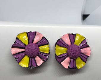 Vintage Clip On Earrings - Purple, Pink, and yellow metal flowers