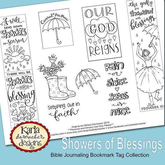 Showers Of Blessing Color Your Own Bookmarks Bible Journaling Tags Tracers INSTANT DOWNLOAD Scripture Digital Printable Christian From Karladornacher On