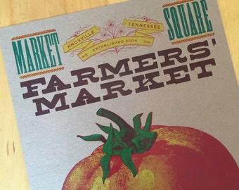 FARMERS MARKET TOMATO fresh produce handprinted letterpress poster