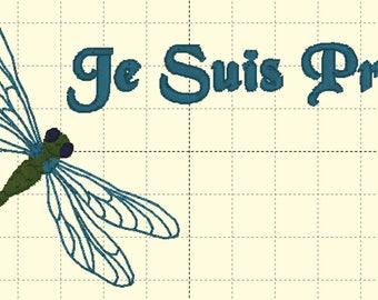 DIGITAL FILE Je Suis Prest 5x7 In the Hoop Embroidery Design