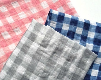 Super large gingham double gauze swaddle blankets  --Michael Miller fabric   --gingham check  -gray  -pink  -navy