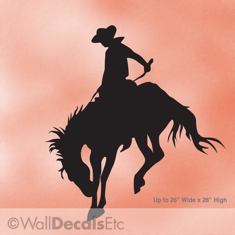 Cowboy Decor Vinyl Wall Decal Bucking Bronco Rodeo Horse
