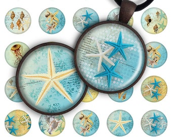 75% OFF SALE Digital Collage Sheet Seaside 1.2 inch, 1 inch size 25mm image for pendants round glass charms resin digital image magnet PC015