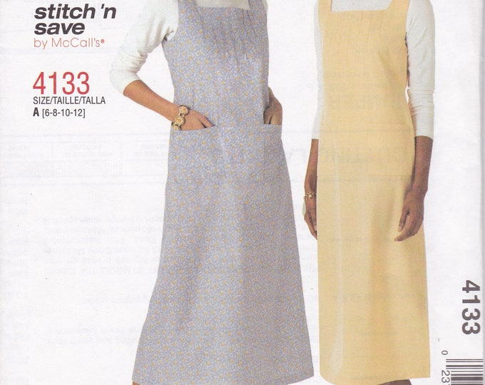FREE US SHIP McCalls 4133 Stitch 'N Save Jumper Dress Uncut Out of Print Size 6 8 10 12 Bust 30.5 31.5 32.5 34  Square Neckline