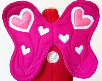 Valentine Pink Heart Flower Wings. Photo Prop, Two Sizes. Durable.