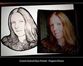 Order Stained Glass Portrait of your choice, window, in Antique, Artistic OR Modern Styles, see all 5 images,  kiln fired, hand painted