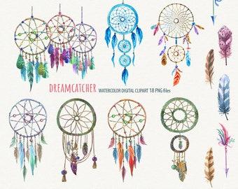DreamCatcher clipart Dream Catcher clipart Tribal clipart Ethnic clipart  Watercolor Dream Catcher