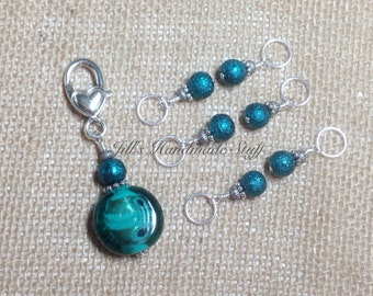 Teal Stitch Marker Set with Holder, Snag Free Beaded Knitting Tools, Gift for Knitters, Jewelry