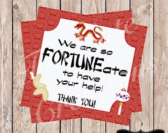 Thank You Tags//Fortune Cookie Thank You Tags//Volunteers, Parents, Staff, Friends, or Neighbor Gifts!!