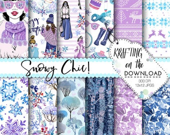 winter fashion paper pack watercolor winter fashion digital paper winter planner girl paper pack watercolor planner girl papers blue purple