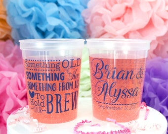 Personalized Plastic Cups, Custom Wedding Cups, Plastic Party Cups, Printed Cups, Clear Cups, Stadium Cups, Drink Cups, Wedding Favors