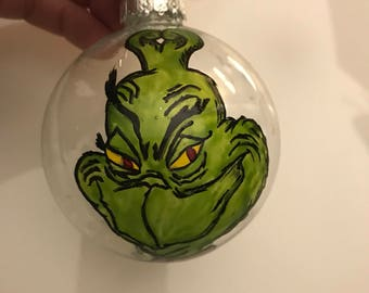 Glass Christmas ornaments - Grinch hand painted ornament