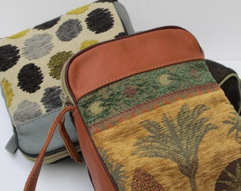 SMALL SHOULDER BAG by Elizabeth Z Mow  Fabric and Leather Desert Palms