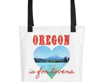 Oregon is for lovers, Valentine's Day, heart, mountain, lake, trees, watercolor, Tote bag