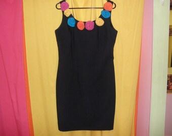 vintage 90s 3D rose tight curvy black bandage dress size 11 12 L XL