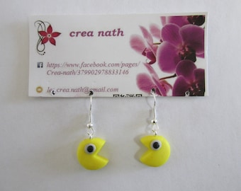 earring type fimo pac man yellow