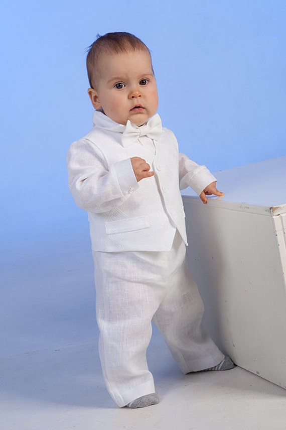 Baby boy ring bearer outfit boy baptism linen suit first