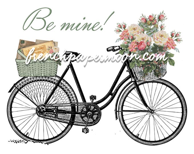 Digital Shabby Chic Valentine Bike, Vintage Flowers, Love Letter, Valentine Pillow, Crafts, Large Size, Graphic Transfer