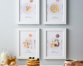Breakfast art - Kitchen print - Family breakfast illustration - food illustration - Breakfast favourites