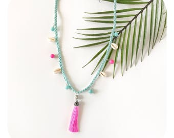 Cowrie shell tassel necklace